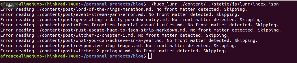 Initial Version of Hugo to JSON